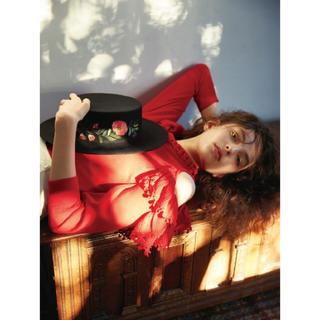 リリーブラウン(Lily Brown)のLily Brown フラワー刺繍フェルトカンカン帽(ハット)