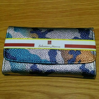 シマムラ(しまむら)のカモフラージュ柄長財布 迷彩柄 ブルー シルバー(財布)