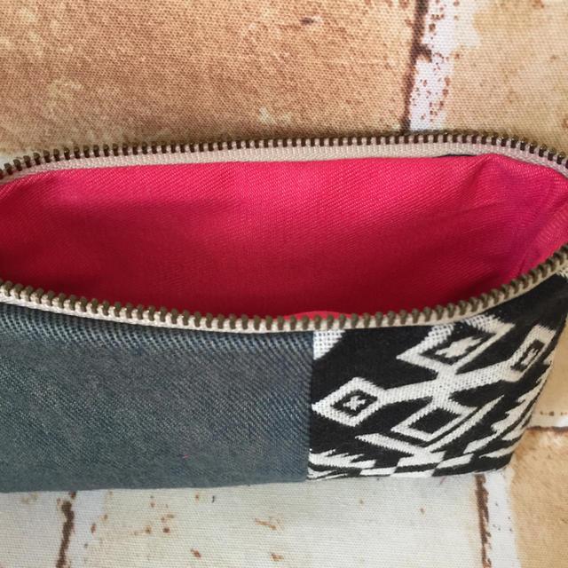 ブラックオルテガ×デニム♡ロングミニポーチ ハンドメイドのファッション小物(その他)の商品写真