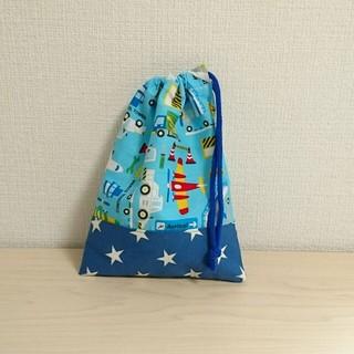 飛行機柄×ブルー星柄 巾着袋(バッグ/レッスンバッグ)