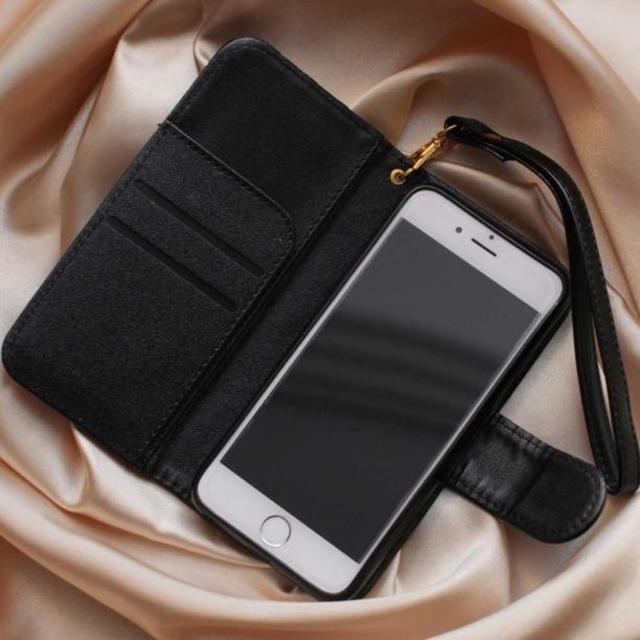 【即日発送】カメリア柄(ローズ柄)手帳型iPhone6/6sケース(黒) ハンドメイドのファッション小物(その他)の商品写真