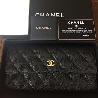 CHANEL(シャネル)の新品 未使用 シャネル 長財布 キャビアスキン ブラック レディースのファッション小物(財布)の商品写真