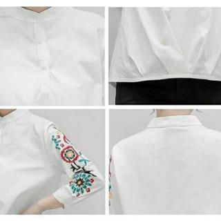 フリルの中で最安値!!花柄 刺繍 ブラウス レディースのトップス(シャツ/ブラウス(長袖/七分))の商品写真