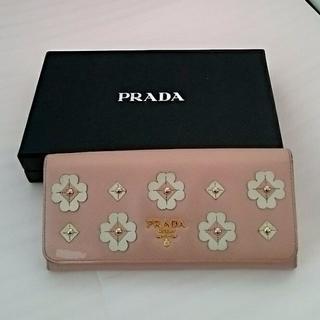 プラダ(PRADA)の正規品☆PRADA プラダ 長財布 花柄 ピンク(財布)