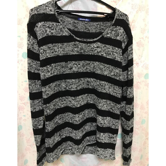 ★Lブラックボーダーセーター★送料無料 メンズのトップス(ニット/セーター)の商品写真