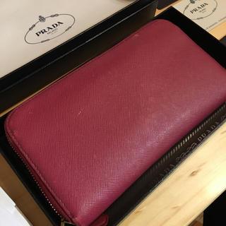 PRADA(プラダ)の本物!PRADA プラダ ピンク 財布 長財布 本革 中古 レザー ジップ レディースのファッション小物(財布)の商品写真