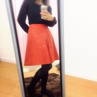 プーラフリーム(pour la frime)の美品 MよりのSサイズ オレンジスカート(ひざ丈スカート)