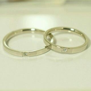 刻印無料 ペアリング スリムプレーンジルコニア リング シルバー 2個 新品(リング(指輪))