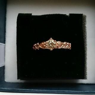 K18PG 一粒0.3ctダイヤモンド12号天然ライトブラウンダイヤモンドリング(リング(指輪))