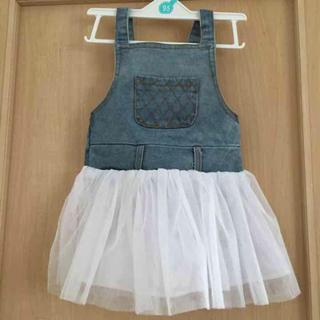 新品タグ付き デニムチュールスカート 韓国子供服(ワンピース)