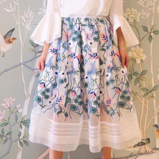 チェスティ(Chesty)の【タグ付き】刺繍 オーガンジースカート 0(ひざ丈スカート)