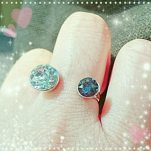 SWAROVSKIのリング(ブルー系) ハンドメイドのアクセサリー(リング)の商品写真
