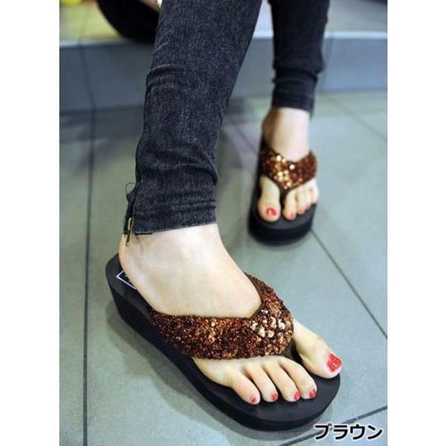 新品☆厚底スパンコールビーチサンダル 36 レディースの靴/シューズ(サンダル)の商品写真