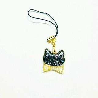 キラキラ黒猫のストラップ(キーホルダー)