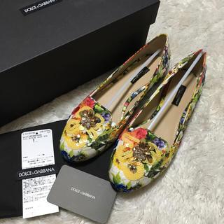 ドルチェアンドガッバーナ(DOLCE&GABBANA)のドルガバ♡新品花柄フラットシューズ(ハイヒール/パンプス)