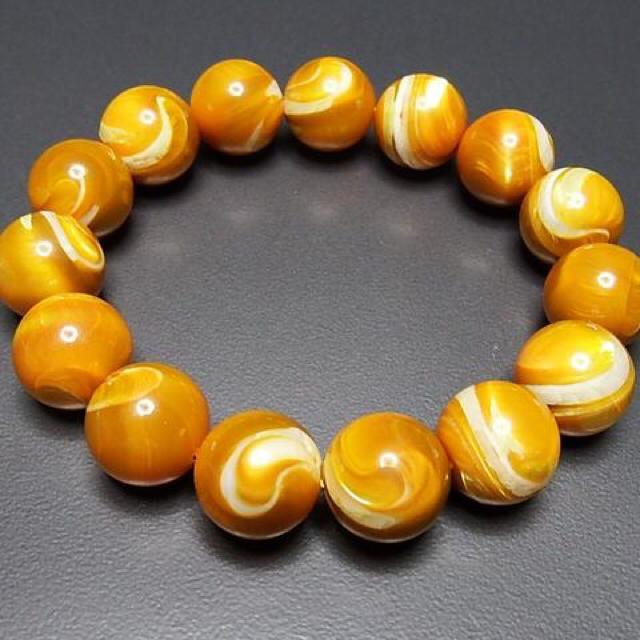 希少品天然超大4Aゴールドマザーオブパール約15ミリ数珠ブレスレット石街 メンズのアクセサリー(ブレスレット)の商品写真