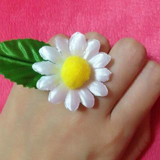 【送料込】私のおまもりお花マーガレットリング 造花(リング(指輪))