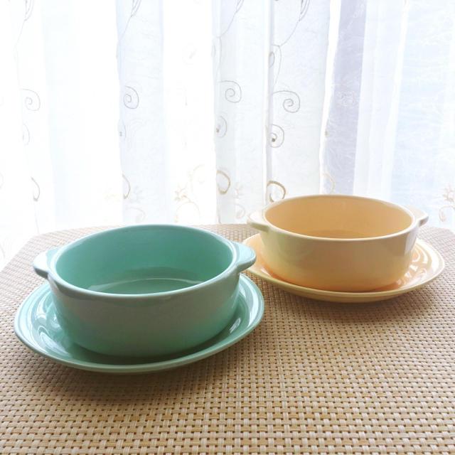 新生活に☆ペア☆グラタン☆スープ皿セット☆ミントグリーン☆クリームイエロー インテリア/住まい/日用品のキッチン/食器(食器)の商品写真