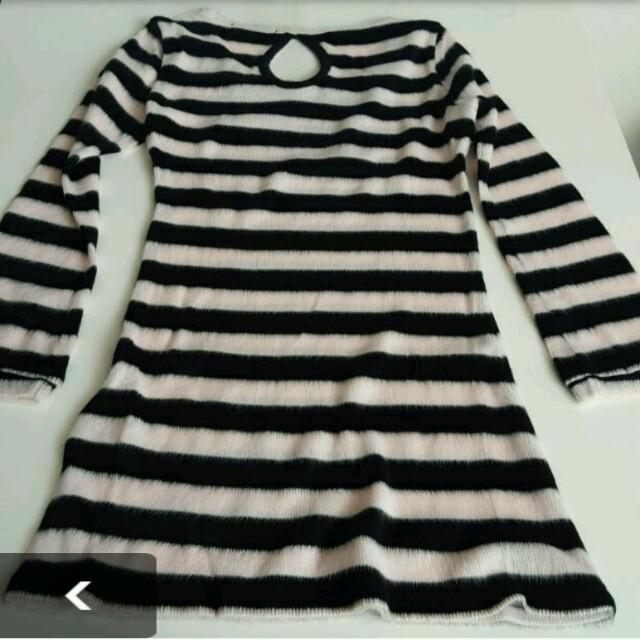 ピンク×黒ボーダーワンピ レディースのワンピース(ひざ丈ワンピース)の商品写真