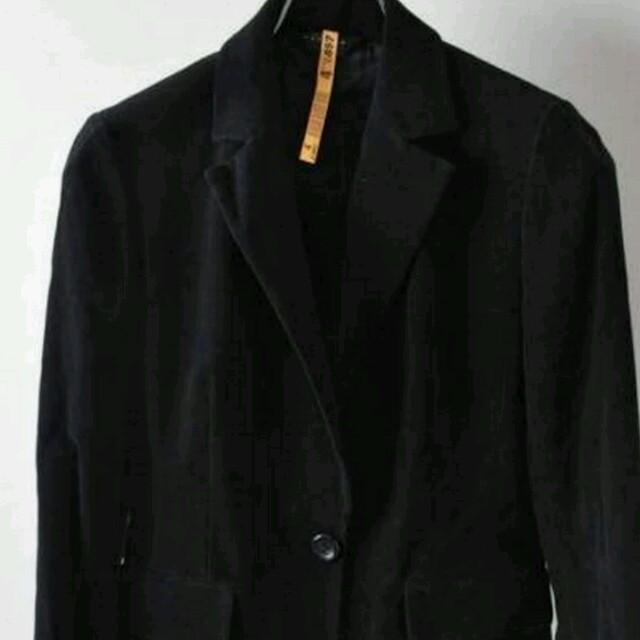 ブラック系ベロア調シングルジャケット レディースのジャケット/アウター(テーラードジャケット)の商品写真