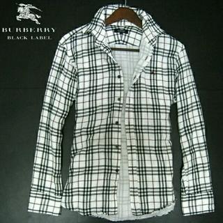 バーバリーブラックレーベル(BURBERRY BLACK LABEL)の新品タグバーバリーブラックレーベルガーゼホワイトタータンチェック加工長袖シャツ (シャツ)