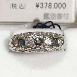 【新品未使用】アレキサンドライト&ダイヤPTデザインリング(リング(指輪))
