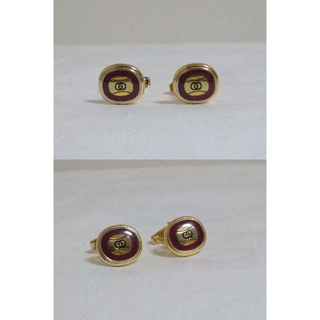 315a4927aa1f Gucci(グッチ)の正規 GUCCI グッチ ヴィンテージ GGロゴラウンドカフス ゴールド×レッド