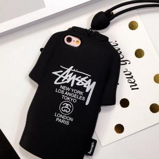オーセンティックシューアンドコー(AUTHENTIC SHOE&Co.)の黒 ステューシー STUSSY  iphone 6/6s Tシャツ型 ケース(モバイルケース/カバー)
