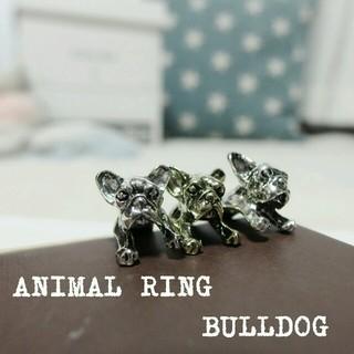 3点セット犬 アニマルリング ブルドッグ柄 指輪 レディース メンズ 動物(リング(指輪))