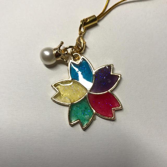 値下げしました 桜レジン キーホルダー5色(嵐:緑紫黄青赤) ハンドメイドのアクセサリー(キーホルダー/ストラップ)の商品写真