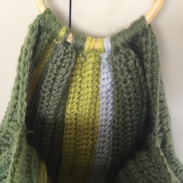 手編みバック ハンドメイドのファッション小物(バッグ)の商品写真