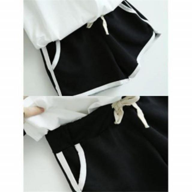 レディース セットアップ ルームウェア (ブラック×白・Mサイズ) レディースのルームウェア/パジャマ(ルームウェア)の商品写真