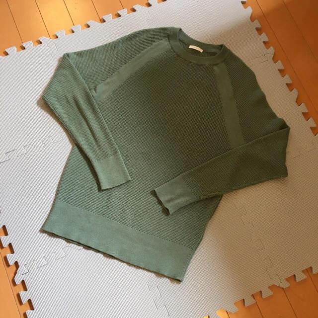 GU(ジーユー)のGU今季ワッフルクルーネックセーター完売Sサイズ レディースのトップス(Tシャツ(長袖/七分))の商品写真