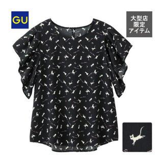 ジーユー(GU)のセーラームーン GU コラボ プリントブラウス アルテミス 黒 半袖 新品 L(シャツ/ブラウス(半袖/袖なし))