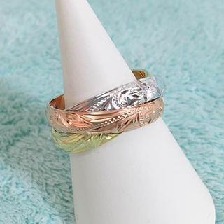 新品 特価品 ハワイアンジュエリー 3色カラー 3連リング JP17号(リング(指輪))