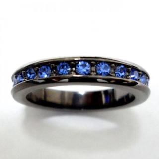 2号 スワロフスキー フルエタニティ サファイア ガンメタリング(リング(指輪))