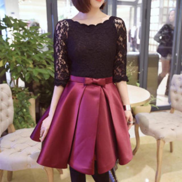 【Lサイズ/レッド】 リボンが可愛い♪ フェミニン ドレス レディース レディースのフォーマル/ドレス(ミニドレス)の商品写真