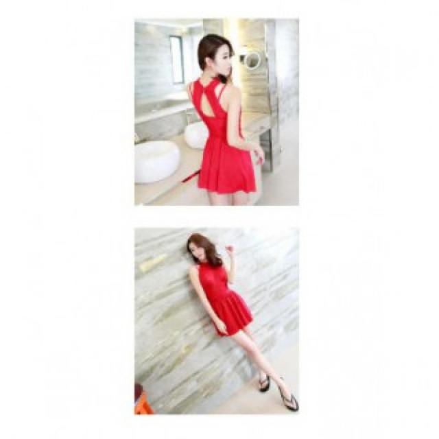 ホルターネック クビレ パーティードレス レッド レディースのフォーマル/ドレス(ミニドレス)の商品写真