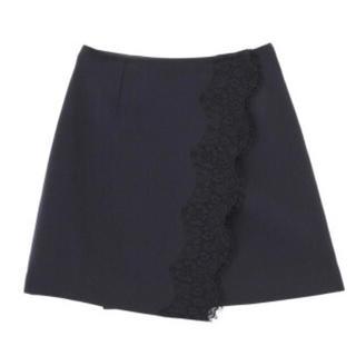 マーキュリーデュオ(MERCURYDUO)のスカラレース切替スカート【ネイビー】(ミニスカート)