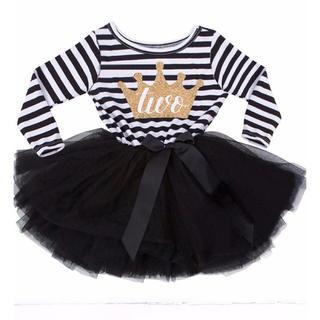 2歳 お誕生日ドレス♡モノトーンワンピース♡女の子 子供服 two(ワンピース)