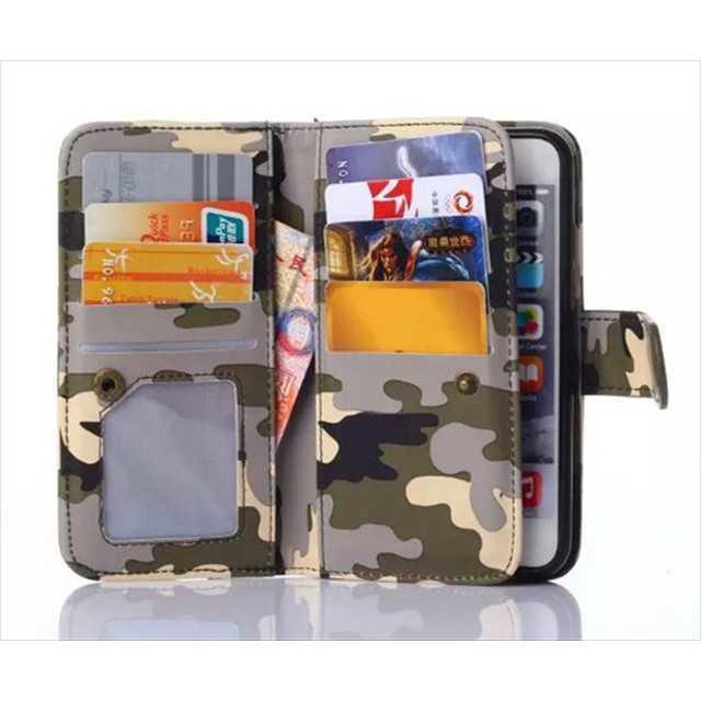 63bc1d731f 迷彩柄 iPhone6/6s ケース手帳型《多収納》二つ折り カード収納 灰×緑の ...