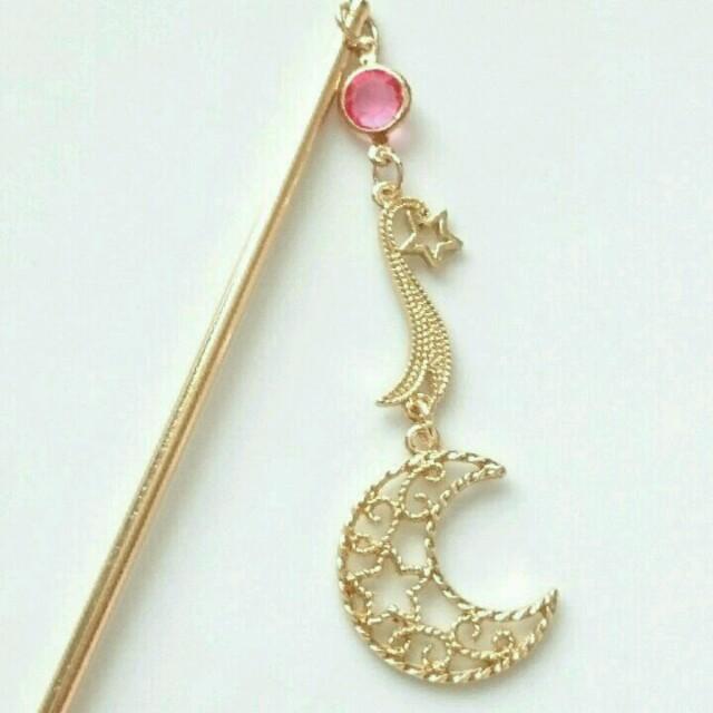 流星と月のかんざし♡ピンク♡*。 レディースのヘアアクセサリー(その他)の商品写真