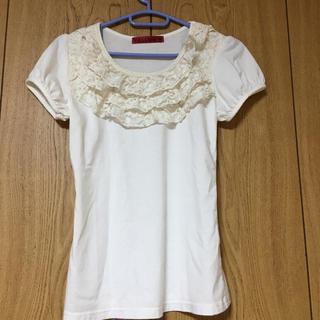 イエロー(yellaw)のレースTシャツ パフスリーブ(Tシャツ(半袖/袖なし))