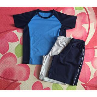 ジーユー(GU)のg'u.sports Jr.プラクティスシャツ、パンツ2枚セット⚽️(Tシャツ/カットソー)