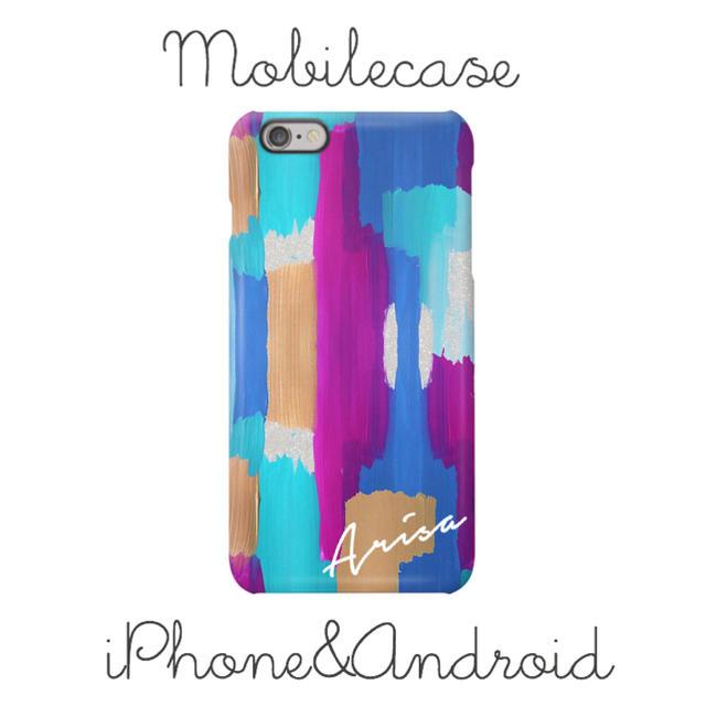 iphone6s ケース 手帳 ドット / 名入れ可能♡パープルアート柄スマホケース♡iPhone以外も対応機種多数あり♡の通販 by welina mahalo|ラクマ