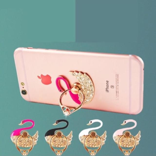 casekoo iphone8 ケース 、 大人気数量限定◆白鳥デザインバンカーリング携帯ホルダー チェリーピンク インスタの通販 by POPO|ラクマ