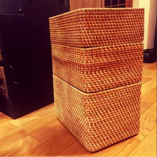 ムジルシリョウヒン(MUJI (無印良品))の無印良品 重なるラタン長方形バスケット 大&中&小 3点セット(バスケット/かご)