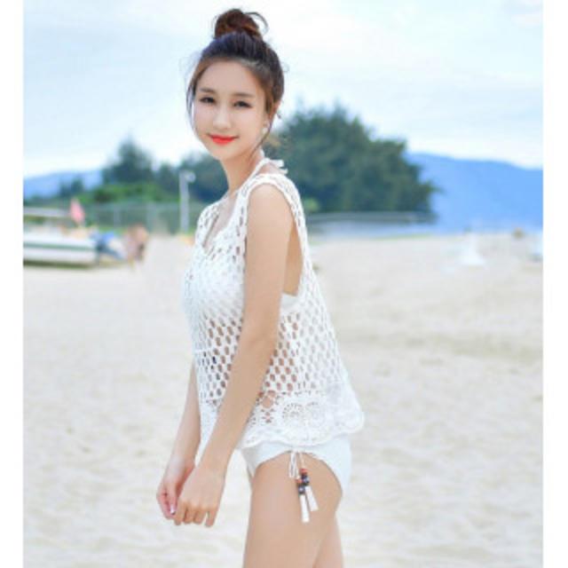 【新作】可愛い水着 3点セット ホワイト レディースの水着/浴衣(水着)の商品写真