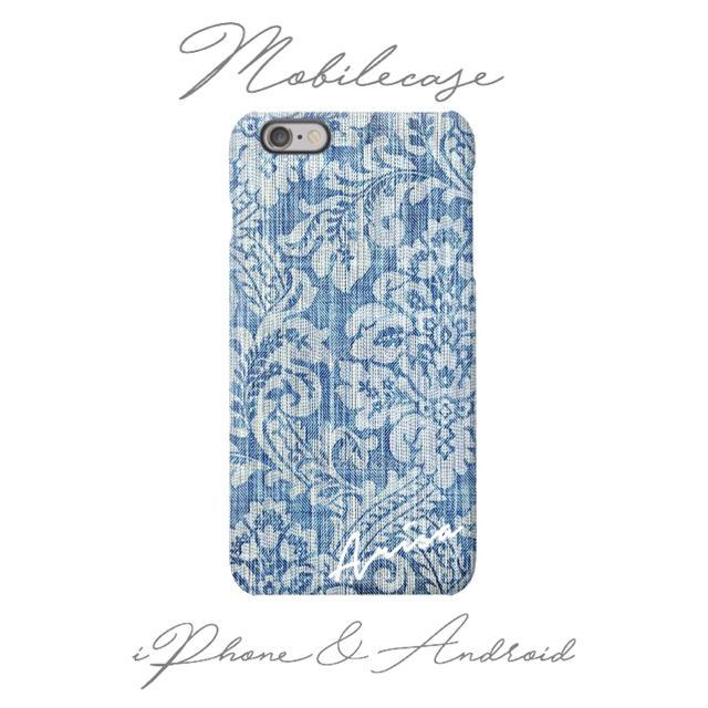 ディオール iphone8 ケース 人気 | 名入れ可能♡デニムフラワー柄スマホケース❷♡iPhone以外も対応機種多数あり♡の通販 by welina mahalo|ラクマ