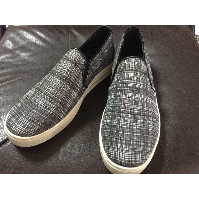 韓国ブランド◇メンズスリッポン◇グレー◇細かいチェック柄◇27cm メンズの靴